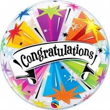 "Congratulations Colour Blast 22"" Qualatex Bubble Party Balloon"