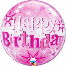 "Pink Starburst Happy Birthday 22"" Qualatex Bubble Party Balloon"