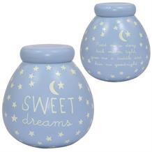 Sweet Dreams Baby Boy Blue Glow in the Dark Pot of Dreams | Money Box | Bank