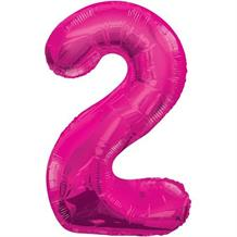 "Pink Glitz 34"" Number 2 Supershape Foil 