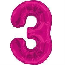 "Pink Glitz 34"" Number 3 Supershape Foil 