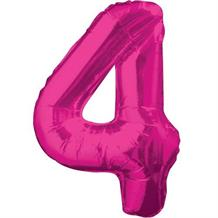 "Pink Glitz 34"" Number 4 Supershape Foil 