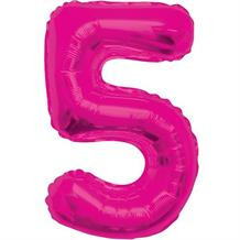 "Pink Glitz 34"" Number 5 Supershape Foil 