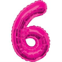 "Pink Glitz 34"" Number 6 Supershape Foil 