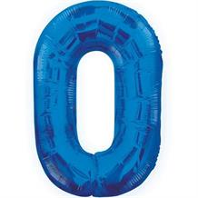 "Blue Glitz 34"" Number 0 Supershape Foil 
