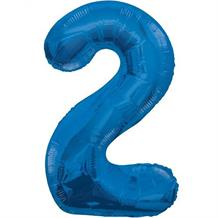 "Blue Glitz 34"" Number 2 Supershape Foil 