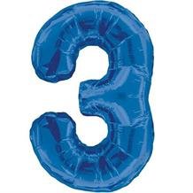 "Blue Glitz 34"" Number 3 Supershape Foil 