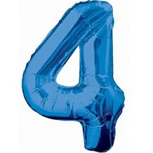 "Blue Glitz 34"" Number 4 Supershape Foil 