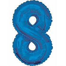 "Blue Glitz 34"" Number 8 Supershape Foil 