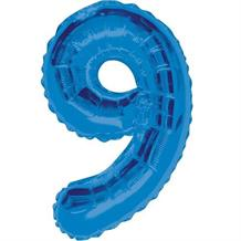 "Blue Glitz 34"" Number 9 Supershape Foil 