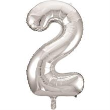 "Silver Glitz 34"" Number 2 Supershape Foil 