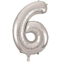 "Silver Glitz 34"" Number 6 Supershape Foil 