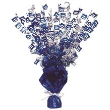 Blue Glitz 100th Birthday Party Table Centrepiece