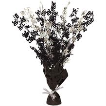 Black Glitz 30th Balloon Weight Table Centrepiece | Decoration