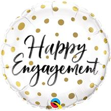 "Happy Engagement Gold Dots 18"" Foil 