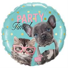 "Dog and Cat Party Time 18"" Foil 