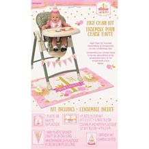 Pink and Gold Girls 1st Birthday Party High Chair Decorating Kit