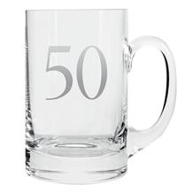 Age 50 Silver Tankard Glass | Keepsake