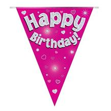 Pink Heart Happy Birthday Foil Flag | Bunting Banner | Decoration