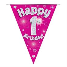 Pink Heart Happy 1st Birthday Foil Flag | Bunting Banner | Decoration
