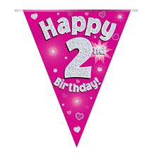 Pink Heart Happy 2nd Birthday Foil Flag | Bunting Banner | Decoration