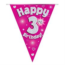 Pink Heart Happy 3rd Birthday Foil Flag | Bunting Banner | Decoration
