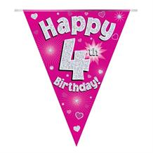 Pink Heart Happy 4th Birthday Foil Flag | Bunting Banner | Decoration