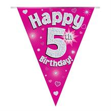 Pink Heart Happy 5th Birthday Foil Flag | Bunting Banner | Decoration