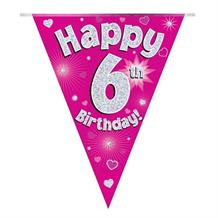 Pink Heart Happy 6th Birthday Foil Flag | Bunting Banner | Decoration