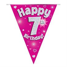 Pink Heart Happy 7th Birthday Foil Flag | Bunting Banner | Decoration