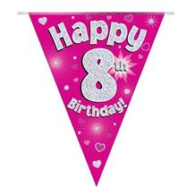 Pink Heart Happy 8th Birthday Foil Flag | Bunting Banner | Decoration