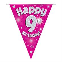 Pink Heart Happy 9th Birthday Foil Flag | Bunting Banner | Decoration