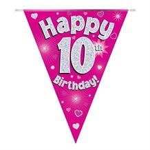 Pink Heart Happy 10th Birthday Foil Flag | Bunting Banner | Decoration