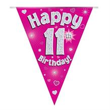 Pink Heart Happy 11th Birthday Foil Flag | Bunting Banner | Decoration