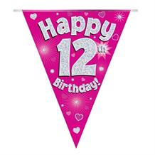 Pink Heart Happy 12th Birthday Foil Flag | Bunting Banner | Decoration