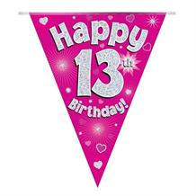 Pink Heart Happy 13th Birthday Foil Flag | Bunting Banner | Decoration
