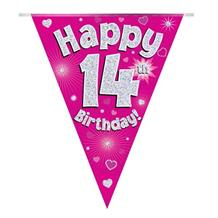Pink Heart Happy 14th Birthday Foil Flag | Bunting Banner | Decoration