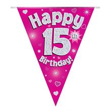 Pink Heart Happy 15th Birthday Foil Flag | Bunting Banner | Decoration