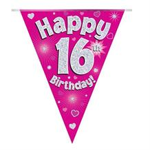 Pink Heart Happy 16th Birthday Foil Flag | Bunting Banner | Decoration