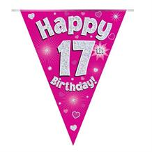 Pink Heart Happy 17th Birthday Foil Flag | Bunting Banner | Decoration