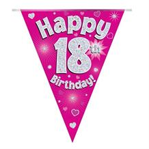 Pink Heart Happy 18th Birthday Foil Flag | Bunting Banner | Decoration