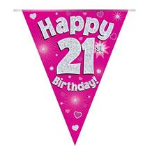 Pink Heart Happy 21st Birthday Foil Flag | Bunting Banner | Decoration