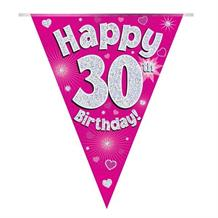 Pink Heart Happy 30th Birthday Foil Flag | Bunting Banner | Decoration