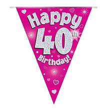 Pink Heart Happy 40th Birthday Foil Flag | Bunting Banner | Decoration