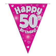 Pink Heart Happy 50th Birthday Foil Flag | Bunting Banner | Decoration