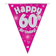 Pink Heart Happy 60th Birthday Foil Flag | Bunting Banner | Decoration