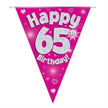 Pink Heart Happy 65th Birthday Foil Flag | Bunting Banner | Decoration