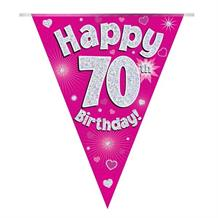Pink Heart Happy 70th Birthday Foil Flag | Bunting Banner | Decoration