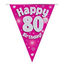 Pink Heart Happy 80th Birthday Foil Flag | Bunting Banner | Decoration