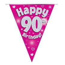 Pink Heart Happy 90th Birthday Foil Flag | Bunting Banner | Decoration